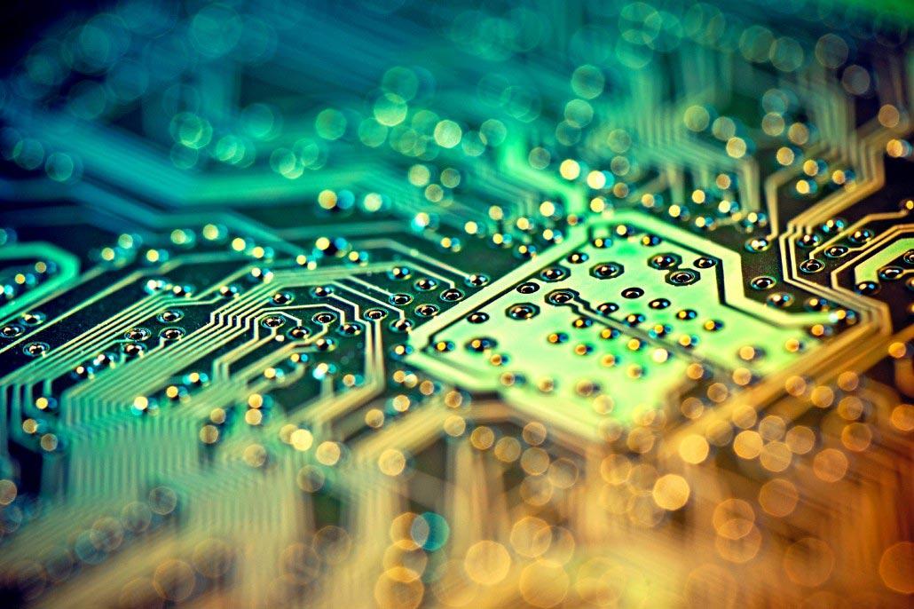close up of printed circuit board