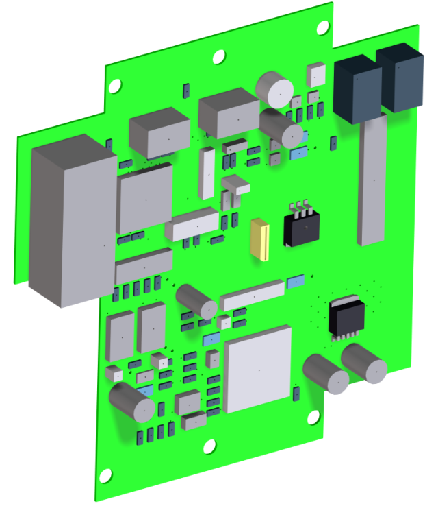 Rendered image of the PCB assembly